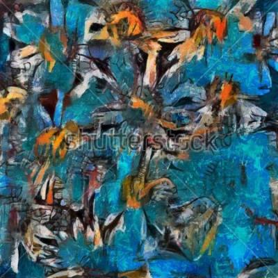 Quadro Ainda vida um buquê de margaridas em um vaso azul. Execução pastosa expressiva. Óleo sobre tela com elementos de pintura pastel em estilo contemporâneo.