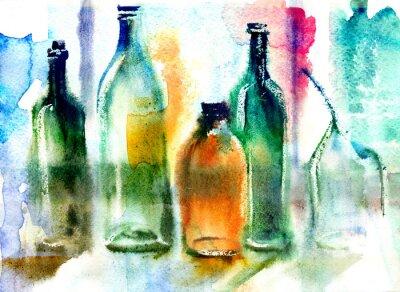 Quadro Ainda, vida, vários, garrafas