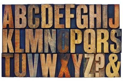 Quadro alfabeto em blocos tipo de madeira tipografia