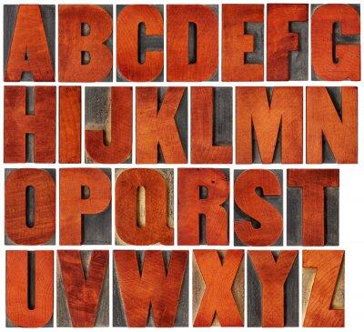 Quadro Alfabeto, jogo, tipografia, madeira, tipo