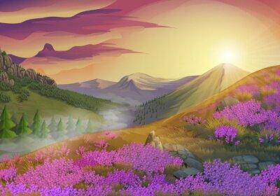 Quadro Alfazema, verão, noite, paisagem, vetorial, fundo