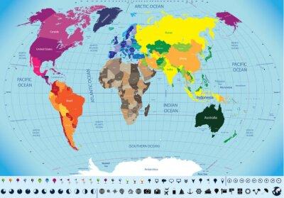 Quadro alta mapa detalhado mundo