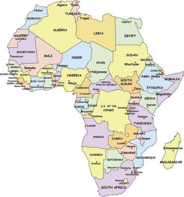 Quadro Altamente detalhado África Mapa Político.