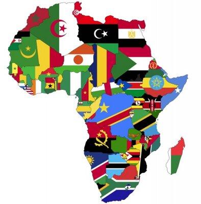 Quadro Altamente detalhado Mapa de África com bandeiras do país.