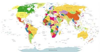 Quadro Altamente, detalhado, político, mundo, mapa, isolado, branca