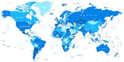 Quadro Altamente ilustração vetorial detalhada de map.Borders mundo, países e cidades.
