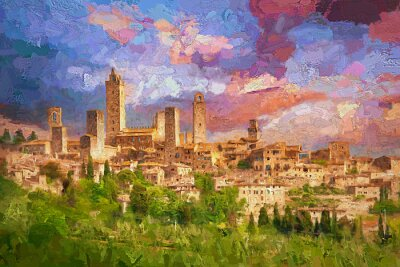 Quadro Amazing landscape view of San Gimignano is a small walled medieval hill town during colorful evening sunset in summer time, Tuscany, Italy.- oil painting