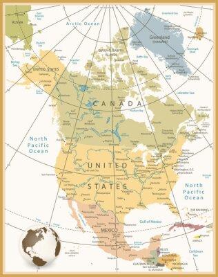 Quadro América do Norte Mapa detalhado Retro Cores