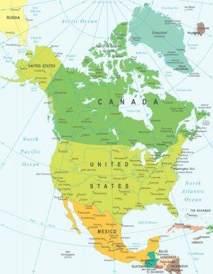 Quadro América do Norte mapa - Ilustração altamente detalhada do vetor.