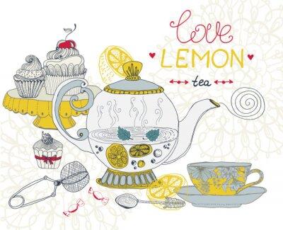 Quadro amor limão cartão de chá