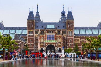 Quadro Amsterdam, Holanda. A praça em frente ao Museu do Estado