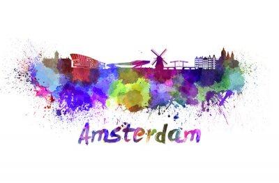 Quadro Amsterdam horizonte em aquarela