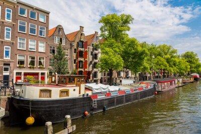 Quadro Amsterdão canais e barcos, Holanda, Holanda.