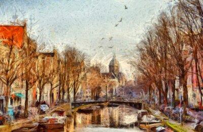 Quadro Amsterdão, canal, manhã, impressionista, quadro