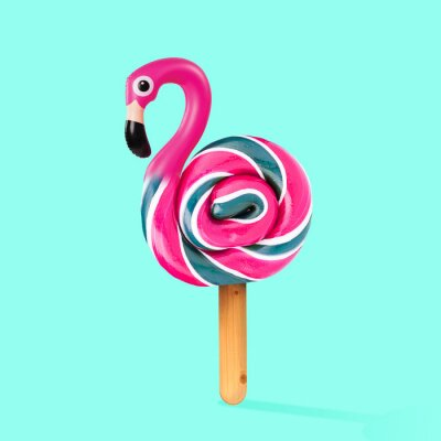 Quadro An alternative sweets. Candy as a flamingo on the wooden stick on blue background. Negative space to insert your text. Modern design. Contemporary art. Creative conceptual and colorful collage.