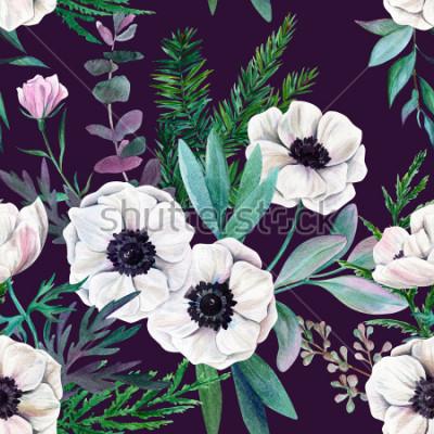 Quadro Anêmonas e folhas brancas no fundo roxo. Teste padrão sem emenda da aquarela, cor completa, ilustração tirada mão.