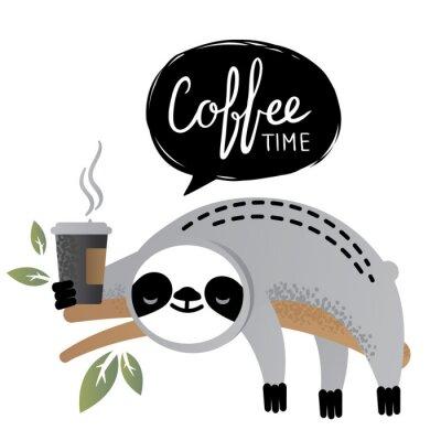Quadro Animal bonito do urso da preguiça do vetor com rotulação do tempo do café.