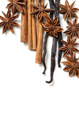 Quadro Anis estrelado, canela e vagens de baunilha