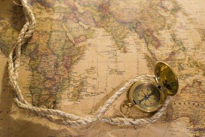 Quadro Antigas, compasso, corda, vindima, mapa