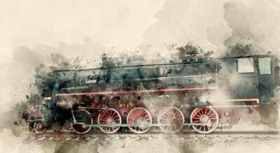 Quadro Antigas locomotivas a vapor do século XX. Aguarela de fundo