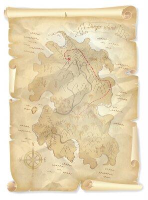Quadro Antigas, piratas, tesouro, ilha, mapa, marcado, localização, vetorial ...
