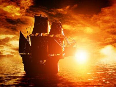 Quadro Antigo navio pirata vela no mar ao pôr do sol