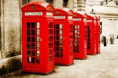 Quadro antik texturiertes Bild roter Telefonzellen em Londres
