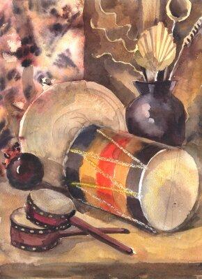Quadro Aquarela ainda vida com um tambor