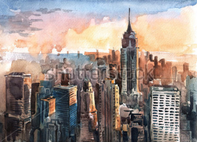 Quadro Aquarela de arranha-céus de Manhattan ao pôr do sol - torres da cidade de Nova York