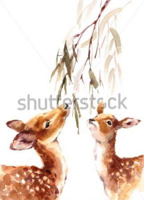 Quadro Aquarela dois veados olhando para o brunch com folhas de mão pintada ilustração de no fundo branco