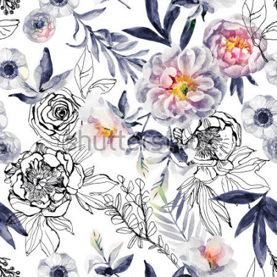 Quadro Aquarela e tinta doodle flores, folhas, ervas daninhas sem costura padrão. Pintados à mão, desenhado fundo floral com peônias, anêmonas, ranúnculo, cachorro rosa ramo, ervas do prado