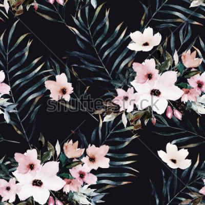 Quadro Aquarela exótica padrão sem emenda, folhas tropicais verdes, flores, ilustração botânica de verão em fundo preto