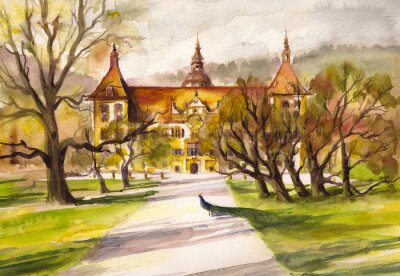 Quadro Aquarela, Ilustração, pavão, parque, frente, fachada, Eggenberg, castelo, graz, Styria, Áustria