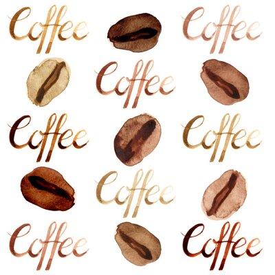Quadro Aquarela isolada ilustrada e pintada grãos de café marrons e lettering padrão conjunto