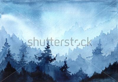 Quadro Aquarela mão ilustrações desenhadas com a floresta de inverno. Paisagem de inverno com árvores de Natal. cartão de natal