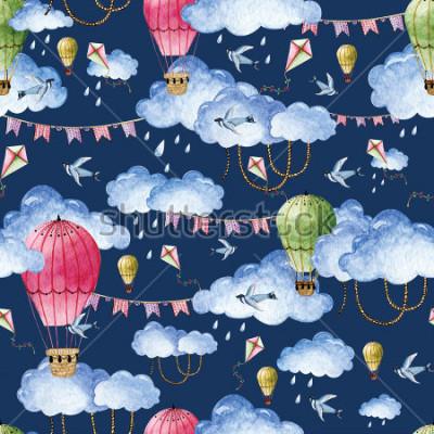 Quadro Aquarela padrão com balões e nuvens