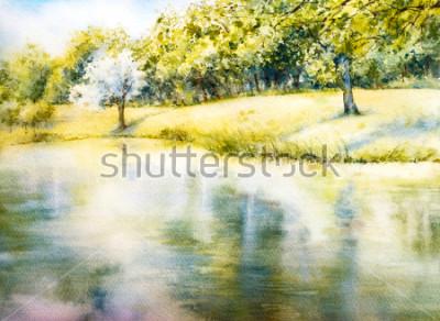 Quadro Aquarela paisagem. Parque de verão. Natureza. Ilustração botânica em aquarela. Paisagem com um lago. Costa