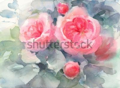 Quadro Aquarela rosas flores textura de fundo floral Ilustração pintada à mão