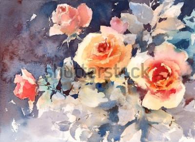 Quadro Aquarela rosas flores textura de fundo floral pintada à mão