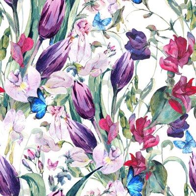 Quadro Aquarela, seamless, fundo, doce, ervilhas, tulips