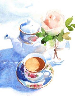 Quadro Aquarela xícara de café e uma rosa em um vaso mão desenhada ainda vida ilustração alimento e bebida fundo