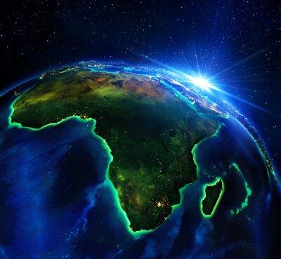 Quadro área de terra na África, a noite