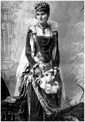 Quadro Aristocratic Lady (19th century) with Wears 16th century