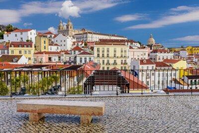 Quadro Arquitectura da cidade de Lisboa - arquitetura tradicional, distrito de Alfama, Lisboa, Portugal.