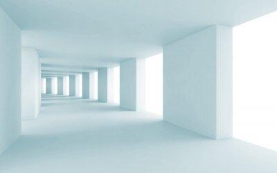 Quadro Arquitetura abstrata 3d fundo, corredor azul vazio