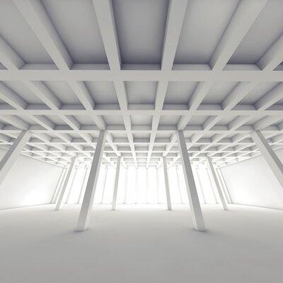 Quadro Arquitetura abstrata, sala branca vazia 3 d