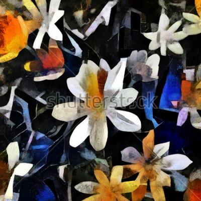 Quadro Arranjo de flor no estilo do cubismo abstrato. A imagem é feita de óleo sobre tela com elementos de pintura acrílica.