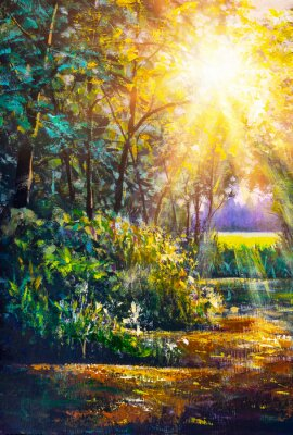 Quadro Art painting Scenic forest of fresh green deciduous trees framed by leaves, with sun casting its warm rays through foliage