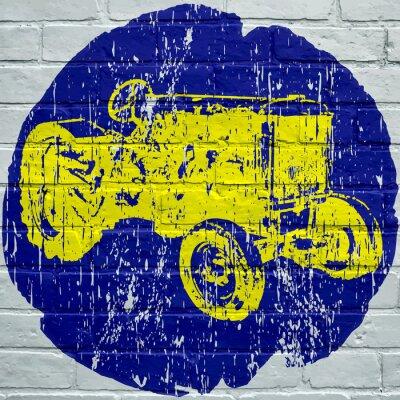 Quadro Arte de rua. Tracteur agricole grunge