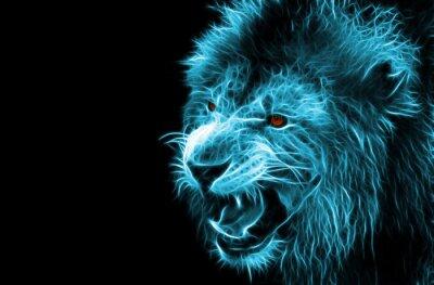 Quadro Arte digital da fantasia do fractal de um leão em um fundo isolado